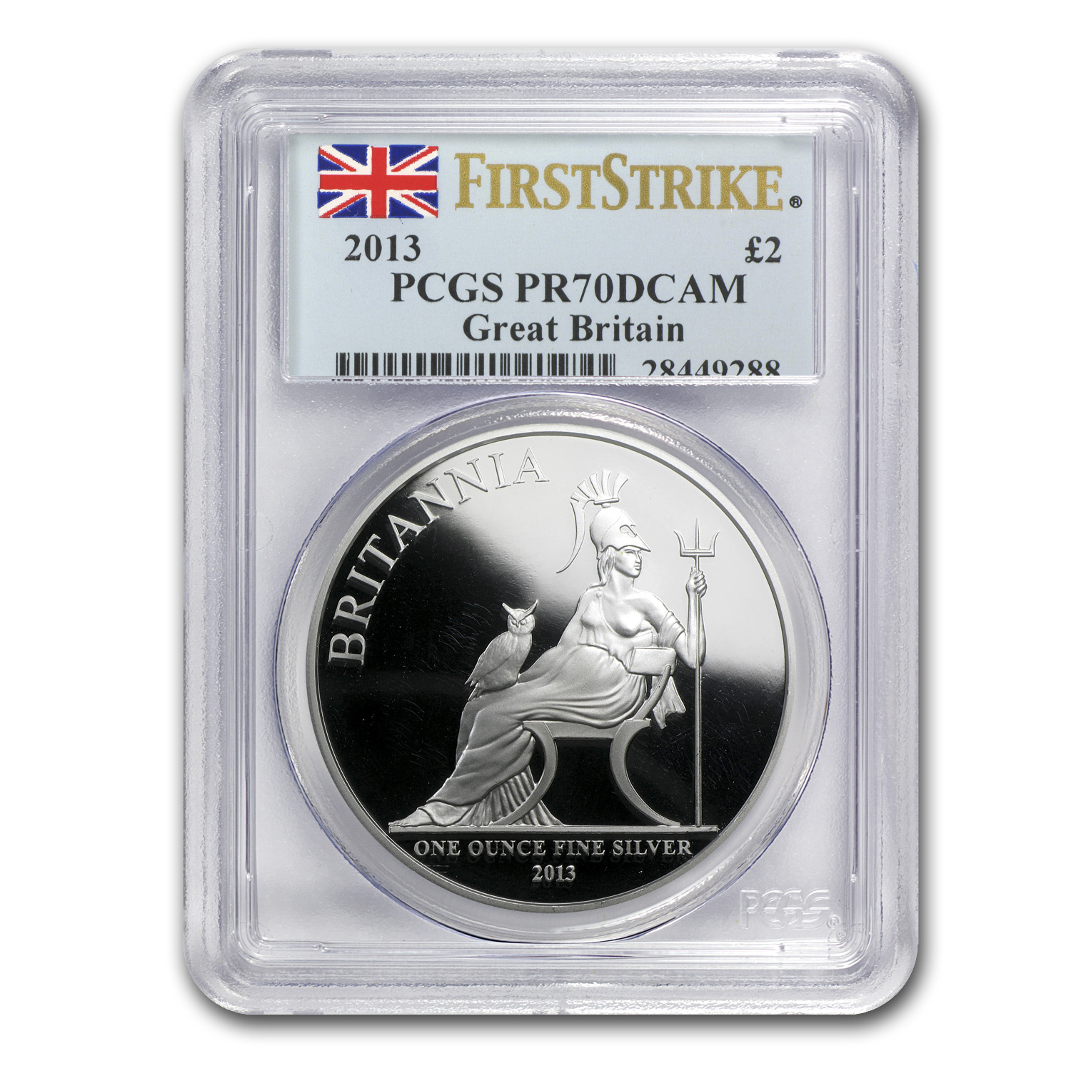 2013 Great Britain 1 oz Silver Britannia PR-70 PCGS (FS)